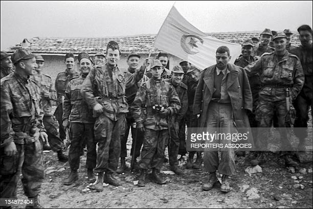 French soldiers with the Algerian flag during 'Operation Bigeard' in March 1956 when an armed outbreak in SoukAhras South of Constantine region...