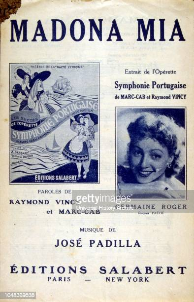 French songbook cover for 'Madona Mia' sung by Germaine roger French actress and operetta singer