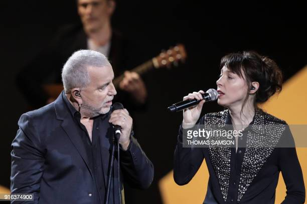 French songwriter and singer Bernard Oulion aka Bernard Lavilliers performs on stage with French singer and songwriter Jeanne Cherhal during the 33rd...