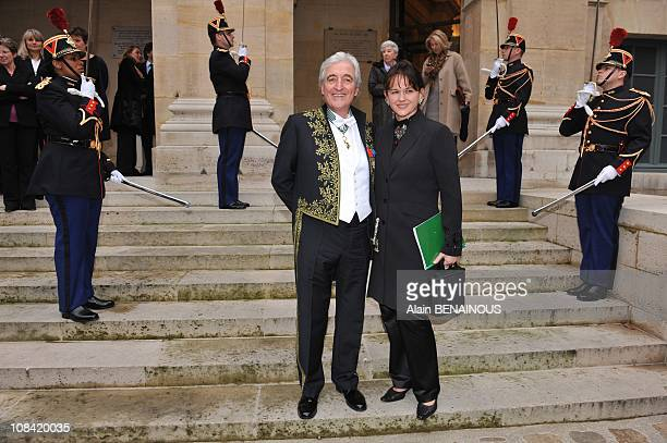 French songwriter JeanLoup Dabadie has 70 poses with his Academic garb and sword in Paris on March 12th prior to his admission as a new member of the...