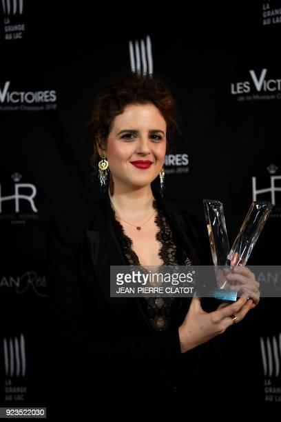French soprano Eva Zaicik poses after receiving an award at the 'Victoire de la musique classique' award ceremony at The Grange au Lac Auditorium in...