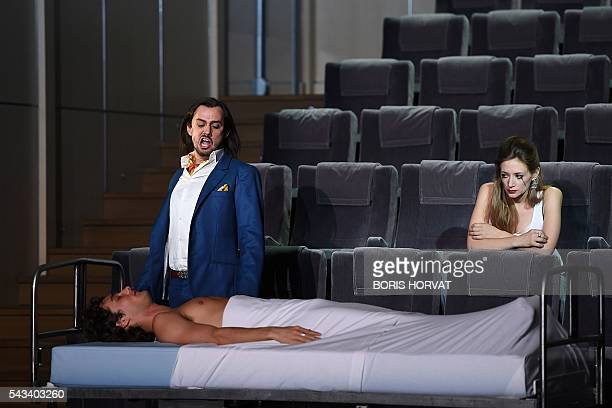 French soprano Sabine Devieilhe as Bellezza and Pablo PillaudVivien and Argentinian countertenor Franco Fagioli as Piacere perform in Georg Friedrich...