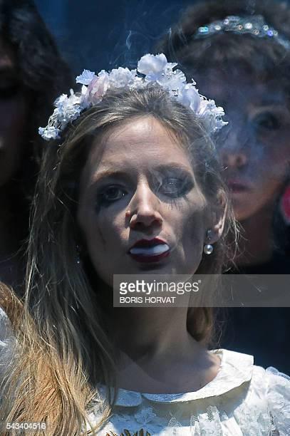 French soprano Sabine Devieilhe performs as Bellezza in Georg Friedrich Haendel's opera Il Trionfo del Tempo e del Disinganno directed by Krzysztof...
