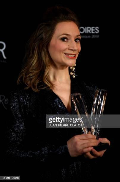 French soprano Sabine Devieilhe poses after receiving an award at the 'Victoire de la musique classique' award ceremony at The Grange au Lac...