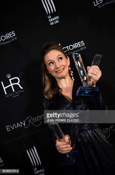 French soprano Sabine Devieilhe poses after receiving her second award at the 'Victoire de la musique classique' award ceremony at The Grange au Lac...