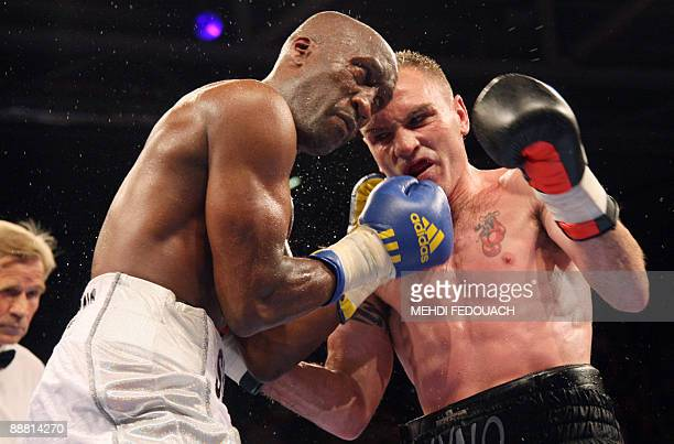 French Souleymane Mbaye vies British Colin Lynes during their lightwelterweight European boxing championships fight on July 3 2009 at the Marcel...