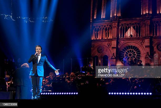 French speaking Canadian singer Bruno Pelletier performs on December 16 2011 at Bercy hall in Paris during the Notre Dame de Paris musical show by...