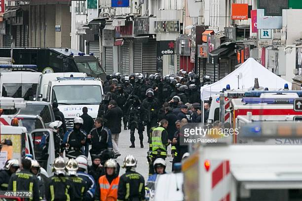 French special forces and medical vehicles are seen on 'Rue de la Republique' on November 18 2015 in SaintDenis France French Police special forces...