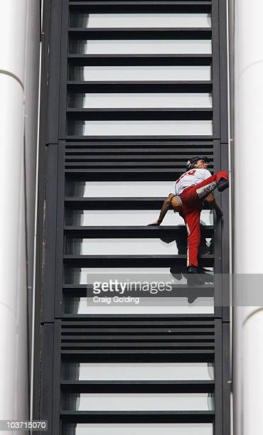 'French Spiderman' Alain Robert climbs 57storey Lumiere building on August 30 2010 in Sydney Australia Robert who has scaled more than 85 structures...