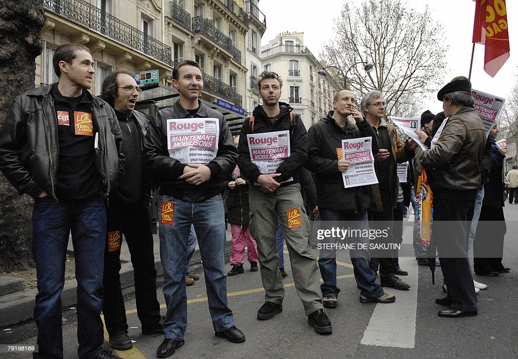 French spokesman of the far-left party Revolutionary Communist League (LCR) Olivier Besancenot (3rd L) marches during a demonstration with teachers and other public service employees to protest against jobs cuts and low wages, 24 January 2008 in Paris. Seven of the eight unions representing France's 5.2 million state employees called for the one-day strike and protest marches in Paris and other cities