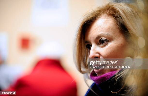 French sponsor of the movement 'Copains du monde' Valerie Trierweiler visits the 'Secours Populaire' of Hayange on December 20 2016 in Hayange...