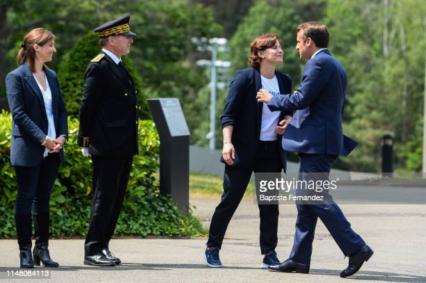 French Sport Minister Roxana Maracineanu and French President Emmanuel Macron during the visit of the French women soccer team by the French...