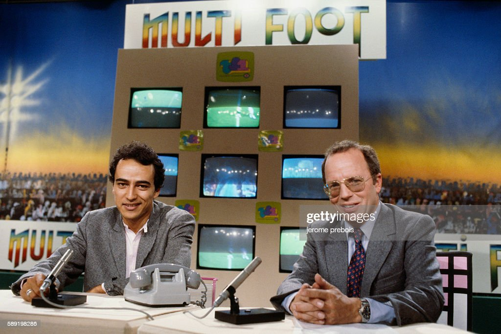 French Sports Journalists Didier Roustan and Thierry Roland : News Photo