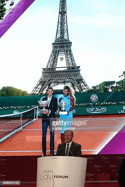 French Sports Junior Minister Thierry Braillard talks during the Doha Goals summit in the Qatari capital on November 3 2014 The closeddoor forum...