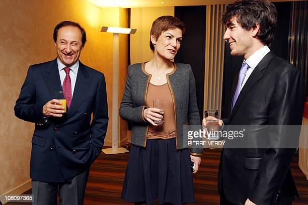 French Sports Minister Chantal Jouanno has a drink with European short track speed skating champion French Thibaut Fauconnet and Didier Gailhaguet...