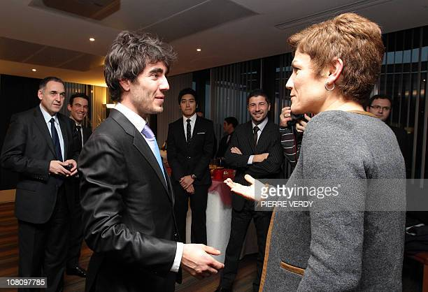 French Sports minister Chantal Jouanno welcomes European short track speed skating champion French Thibaut Fauconnet and the speed skating French...
