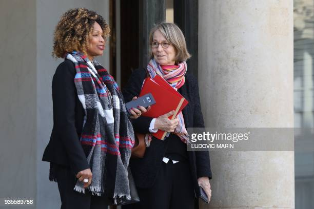 French Sports Minister Laura Flessel and French Culture Minister Francoise Nyssen leave after the weekly Cabinet meeting on March 21 2018 at the...