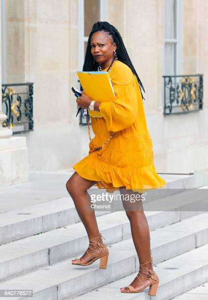French Sports Minister Laura Flessel arrives at the Elysee presidential palace for the weekly cabinet meeting on August 30 2017 in Paris France...