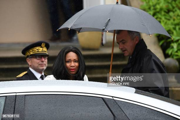 French Sports Minister Laura Flessel arrives to meet France national football team players in Clairefontaine-en-Yvelines on June 5, 2018 - France's...