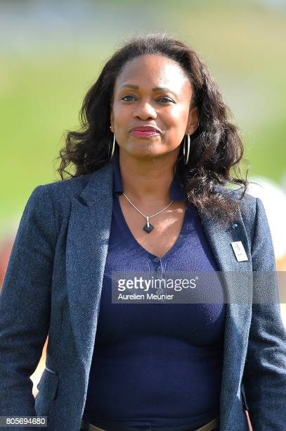 French Sports Minister Laura Flessel attends day four of the HNA Open de France at Le Golf National on July 2 2017 in Paris France