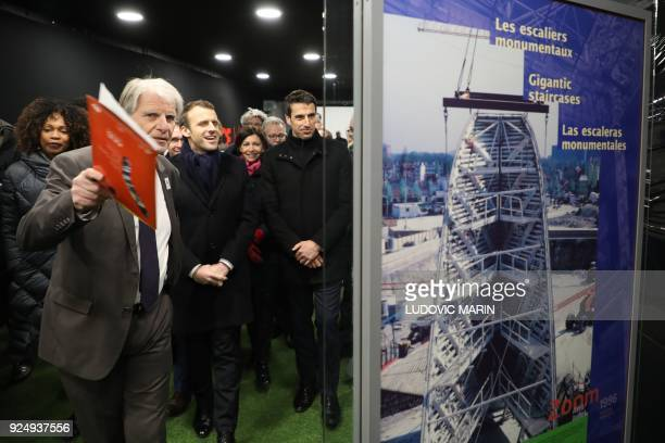 French Sports Minister Laura Flessel French president Emmanuel Macron Paris mayor Anne Hidalgo and Paris 2024 Games' chief Tony Estanguet look on as...