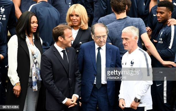 French Sports Minister Laura Flessel French President Emmanuel Macron his wife Brigitte Macron French football Federation President Noel Le Graet and...