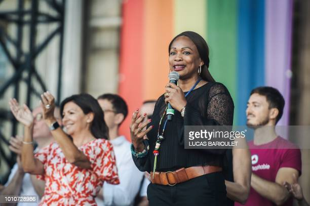 French Sports Minister Laura Flessel gestures as she delivers a speech on stage during the inauguration of the sport village of the 2018 Gay Games'...