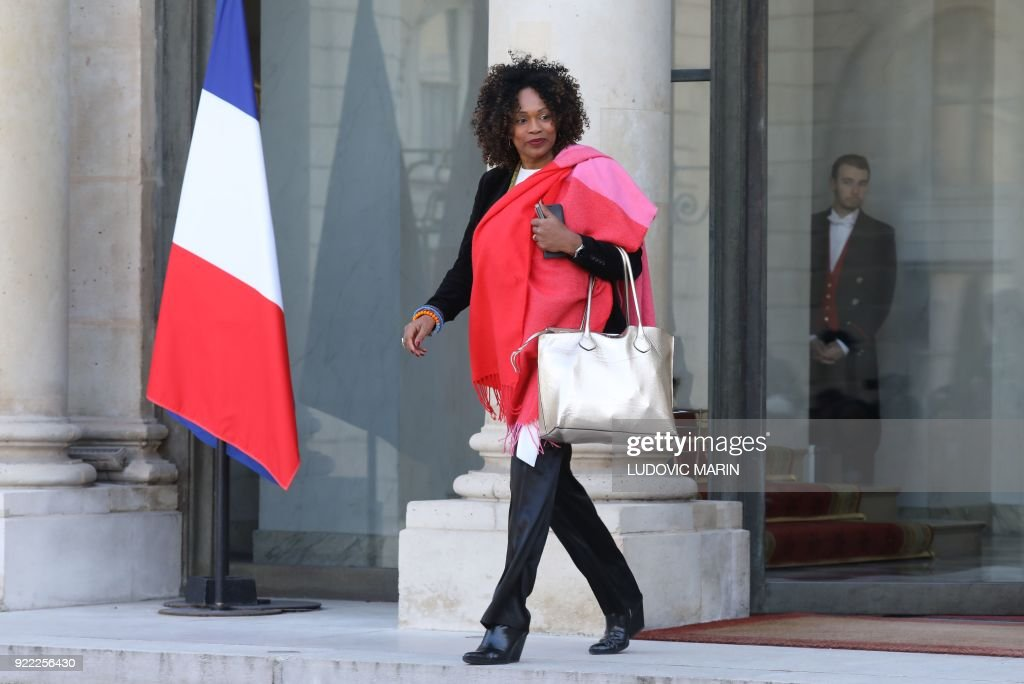 French Sports Minister Laura Flessel leaves The Elysee Palace in Paris on February 21, 2018, after attending a lunch function given for Liberian President George Weah. /