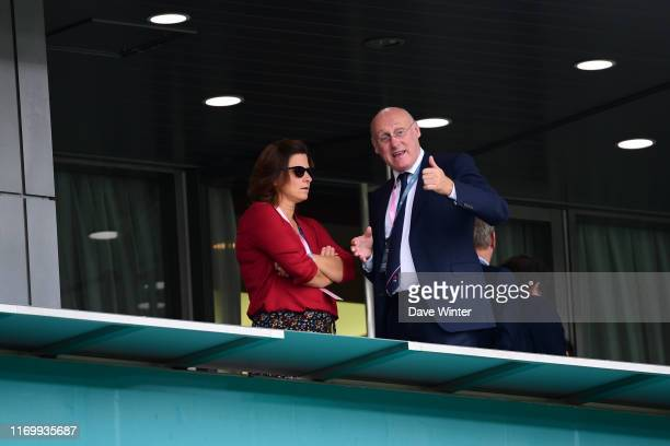 French sports minister Roxana Maracineanu and President of the French Rugby Federation Bernard LAPORTE during the Rugby World Cup Group C match...