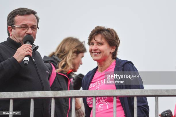 French sports minister Roxana Maracineanu at the start of the 5km race during the Course Odyssea Paris 2018 fun run to raise funds for breast cancer...