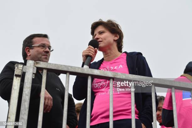 French sports minister Roxana Maracineanu during the Course Odyssea Paris 2018 fun run to raise funds for breast cancer research starting from the...