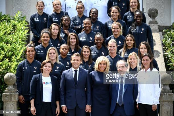 French Sports Minister Roxana Maracineanu French President Emmanuel Macron French first lady Brigitte Macron French Football Federation president...