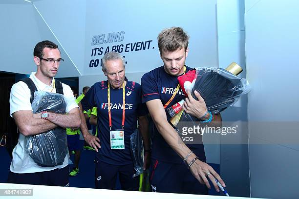 French sprinter Christophe Lemaitre attends Asics activity the day before IAAF World Championships Beijing 2015 on August 21 2015 in Beijing China