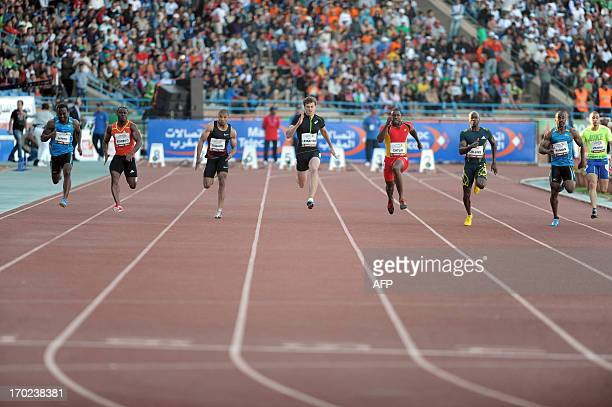 French sprinter Christophe Lemaitre competes on June 9 2013 in the 100meter race during the international athletic meeting Mohammed VI in Rabat AFP...