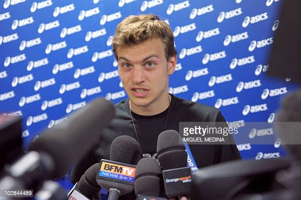 French sprinter Christophe Lemaitre delivers a speech during a press conference on July 13 2010 in Paris By running 100 metres in 998sec on July 9...