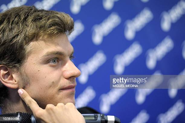 French sprinter Christophe Lemaitre takes part in a press conference on July 13 2010 in Paris By running 100 metres in 998sec on July 9 Lemaitre not...