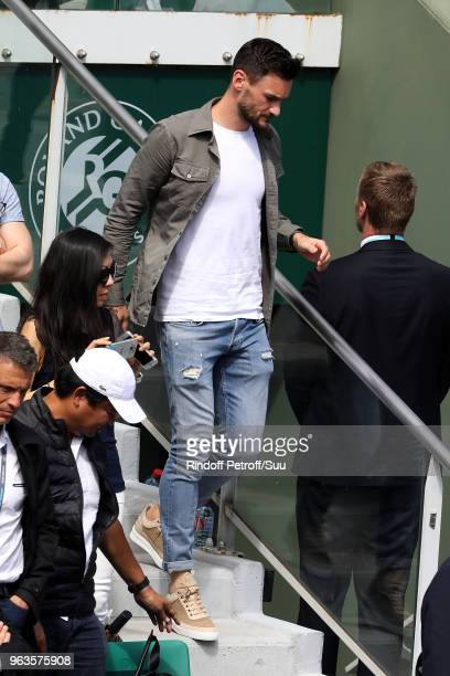 French squad soccer player Hugo Lloris attends the 2018 French Open Day Three at Roland Garros on May 29 2018 in Paris France
