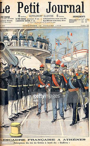 French squadron in Athens welcome of king George of Greece and his sons prince Geroges and prince Nicolas on board of the Suffren by admiral Gourdon...