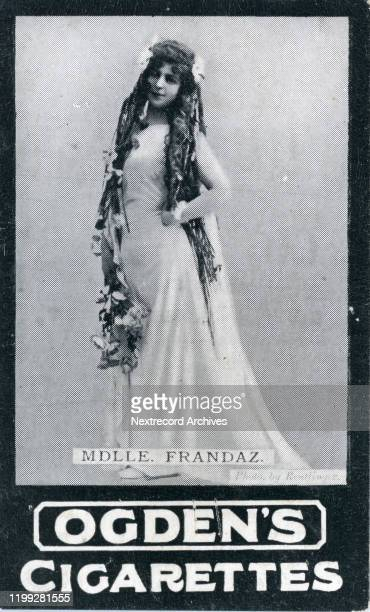French stage actress, Mademoiselle Frandaz, depicted on collectible tobacco card from circa 1907-1910, Ogden's Guinea Gold Cigarettes from England....