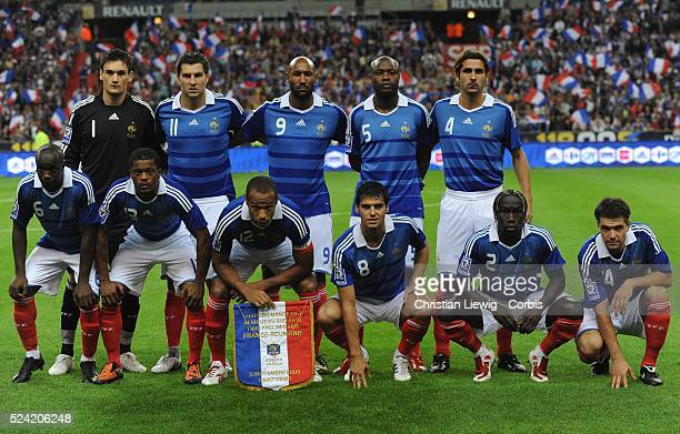 French starting elven during the World Cup group 7 qualifying soccer match France vs Romania at the Stade de France in SaintDenis near Paris on...