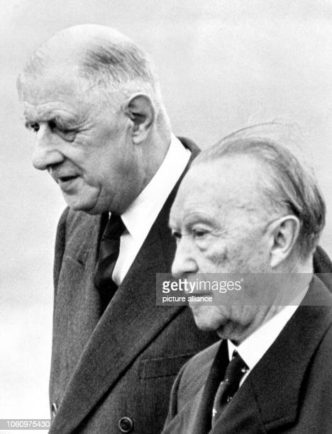 French state president Charles de Gaulle and German chancellor Konrad Adenauer are on their way to the summit conference of the European Economic...