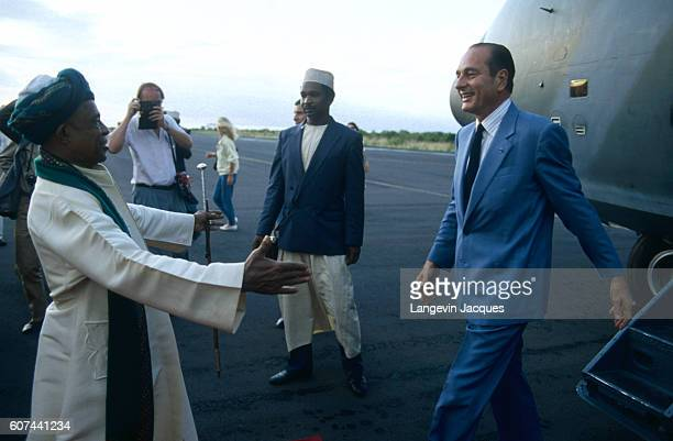 French Statesman Jacques Chirac is welcomed by President Ahmed Abdallah while on official visit to the Comoros