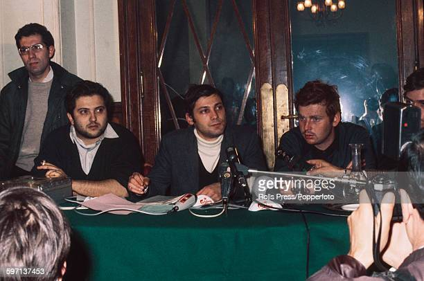 French student leaders Alain Geismar Jacques Sauvageot and Daniel CohnBendit pictured together at a press conference at the Odeon Theatre in Paris...
