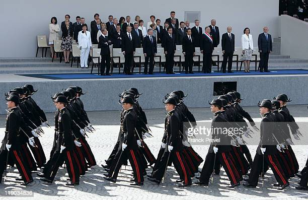French students from the special military school Polytechnique march down the ChampsElysees during the annual Bastille day parade on July 14 2011 in...