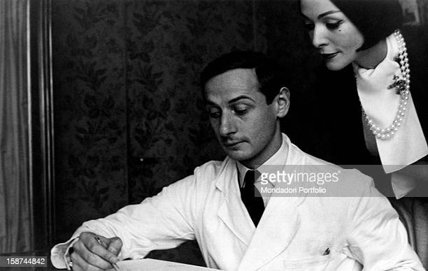 French stylist Marc Bohan director of the fashion house Dior drawing 1960s