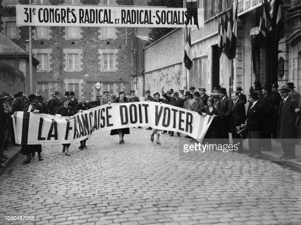 French 'suffragettes' protest to demand the right to vote in Nantes Western France 27 October 1934 during a Congress of the RadicalSocialist Party...