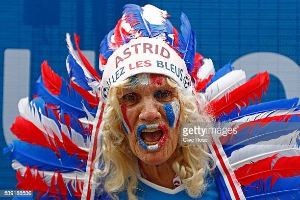 A french supporter enjoys the atmosphere prior to the stadium prior to kickoff during the UEFA Euro 2016 Group A match between France and Romania at...