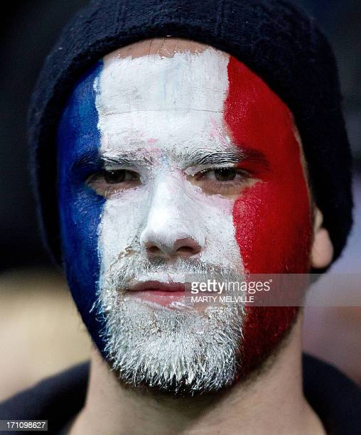 A French supporter looks on during the third rugby union match between the New Zealand All Blacks and France at Yarrow stadium in New Plymouth on...