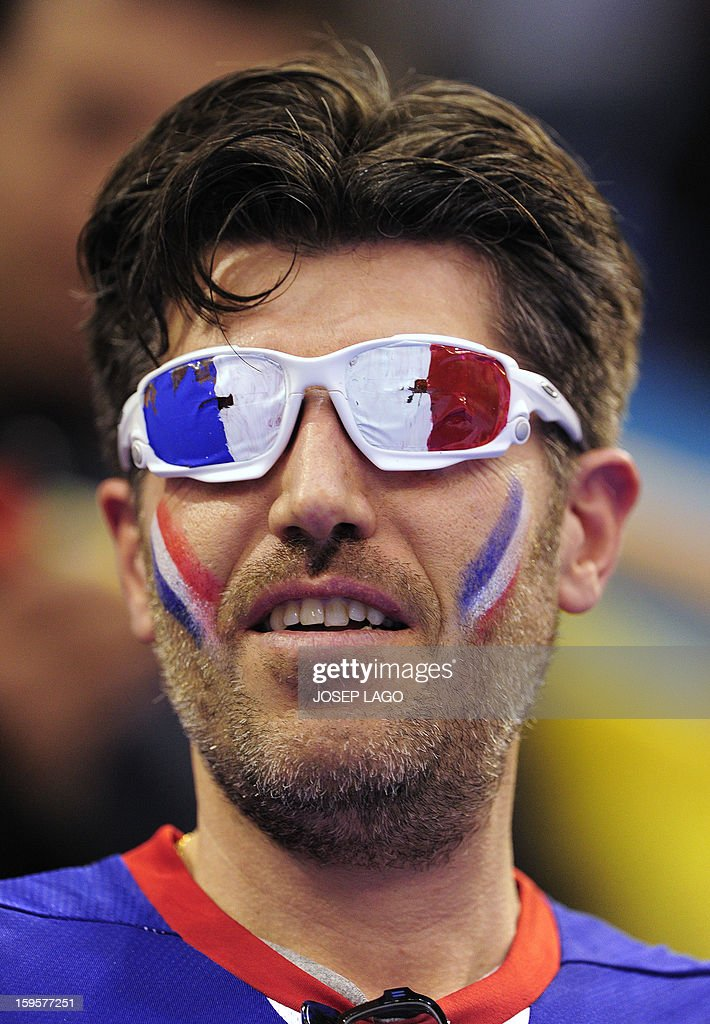 A French supporter with a glasses looks on during the 23rd Men's Handball World Championships preliminary round Group A match Argentina vs France at the Palacio de los Deportes de Granollers on January 16, 2013.