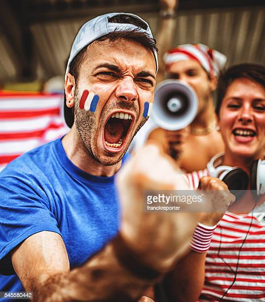 french supporters at stadium cheering - fan enthusiast stock pictures, royalty-free photos & images